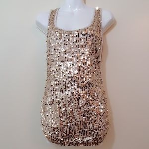 NWT SzM Gold Sequined Imaginary Voyage Tank